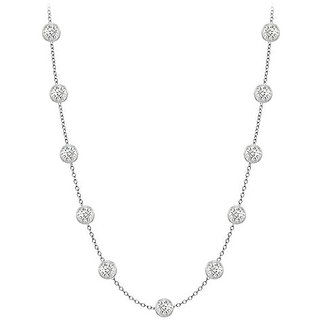 Gorgeous Diamonds Necklace In 14K White Gold Bezel Set 0.50 Ct.Tw