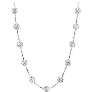 Classy Diamonds Necklace In 18K White Gold Bezel Set 1 Ct.Tw