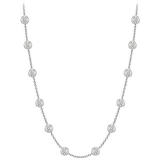 Classy Diamonds Necklace In 14K White Gold Bezel Set 0.33 Ct.Tw