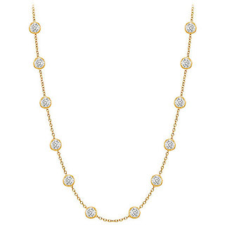 Beautiful Diamonds Necklace In 14K Yellow Gold Bezel Set 0.25 Ct.Tw