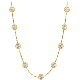 Pretty Diamonds Necklace In 14K Yellow Gold Bezel Set 1.50 Ct.Tw