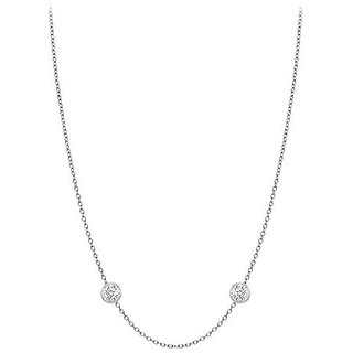 Chic Diamonds Necklace In 14K White Gold Bezel Set 0.10 Ct.Tw