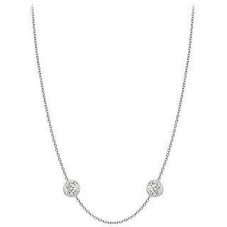 Classy Diamonds Necklace In 14K White Gold Bezel Set 0.25 Ct.Tw