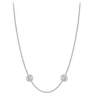 Stylish Diamonds Necklace In 18K White Gold Bezel Set 0.25 Ct.Tw