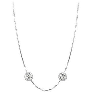 Dazzling Diamonds Necklace In 14K White Gold Bezel Set 0.50 Ct.Tw