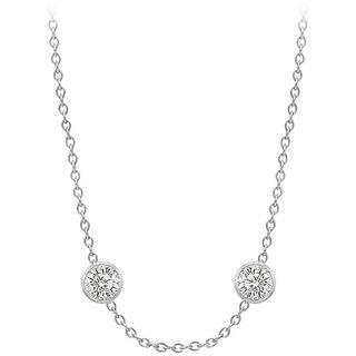 Diamonds Necklace In 18K White Gold Bezel Set 0.80 Ct.Tw