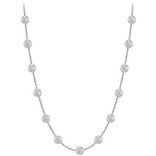 Beautiful Diamonds Necklace In 14K White Gold Bezel Set 0.33 Ct.Tw