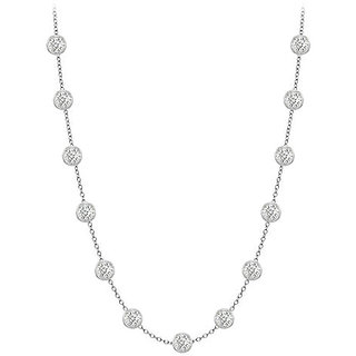 Pretty Diamonds Necklace In 18K White Gold Bezel Set 1 Ct.Tw