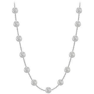 Beautiful Diamonds Necklace In 18K White Gold Bezel Set 2.00 Ct.Tw
