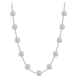 Contemporary Diamonds Necklace In 14K White Gold Bezel Set 3.00 Ct.Tw