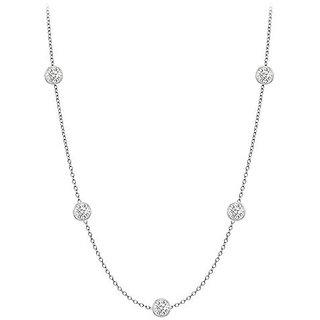 Chic Diamonds Necklace In 18K White Gold Bezel Set 0.25 Ct.Tw