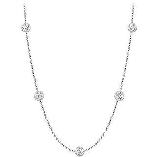 Classy Diamonds Necklace In 18K White Gold Bezel Set 0.33 Ct.Tw