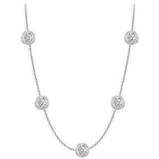 Elegant Diamonds Necklace In 18K White Gold Bezel Set 1 Ct.Tw