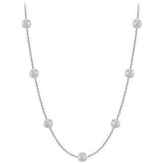 Trendy Diamonds Necklace In 18K White Gold Bezel Set 0.25 Ct.Tw