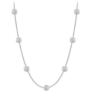 Exquisite Diamonds Necklace In 14K White Gold Bezel Set 0.50 Ct.Tw