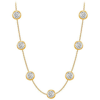 Pretty Diamonds Necklace In 14K Yellow Gold Bezel Set 1 Ct.Tw