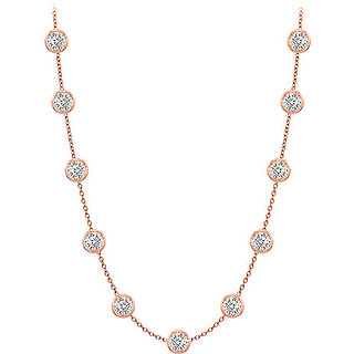 Pretty Diamonds Necklace In 14K Rose Gold Bezel Set 1.00 Ct.Tw