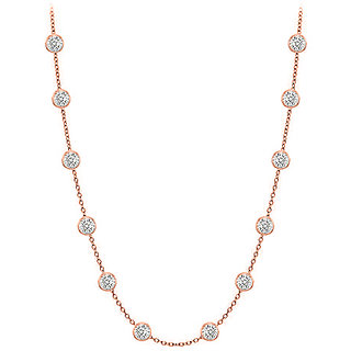 Beautiful Diamonds Necklace In 14K Rose Gold Bezel Set 0.25 Ct.Tw