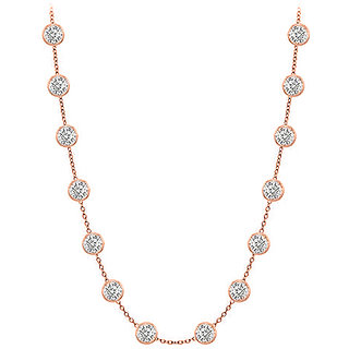 Beautiful Diamonds Necklace In 14K Rose Gold Bezel Set 1.00 Ct.Tw