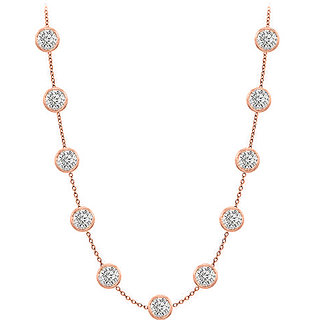 Pretty Diamonds Necklace In 14K Rose Gold Bezel Set 2.00 Ct.Tw