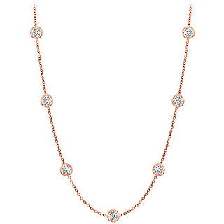 Beautiful Diamonds Necklace In 14K Rose Gold Bezel Set 0.33 Ct.Tw