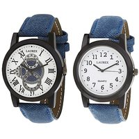 Laurex Analog Round Casual Wear Watches For Men Combo-LX-003-LX-009