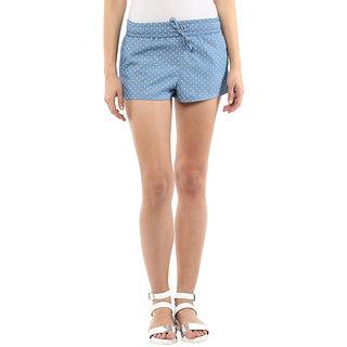 Hypernation Polka Print Womens Light Blue Basic Shorts, Night Shorts, Beach Shorts
