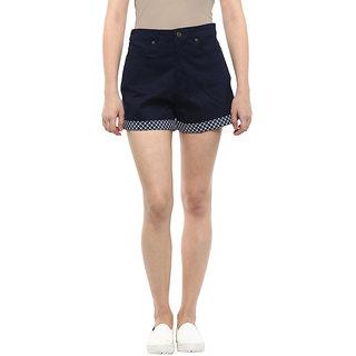 Hypernation Solid Womens Dark Blue Chino Shorts