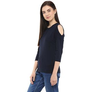 Hypernation Solid Womens Round Neck Dark Blue Cold Shoulder T-Shirt