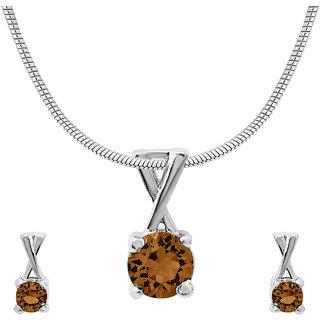 Mahi with CZ Brown Elegant Cross Rhodium Plated Pendant Set for Women NL1104140RBro