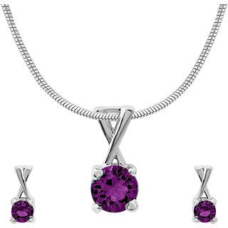 Mahi with CZ Purple Elegant Cross Rhodium Plated Pendant Set for Women NL1104140RPur