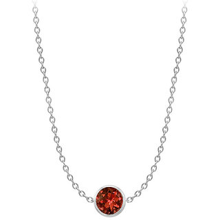 Garnet By The Yard Necklace In 14K White Gold 2 Ct