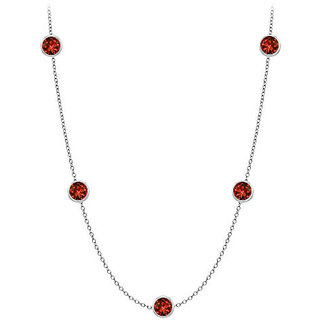 Garnet By The Yard Necklace Twenty Ct In 14K White Gold With 36 Inch Cable Chain