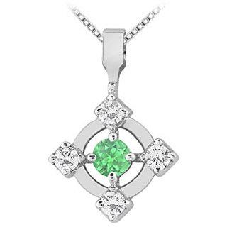 Emerald & Diamond Pendant 14K White Gold-0.50 Ct