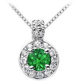 Beautiful Emerald & Diamond Pendant 14K White Gold-1.25 Ct