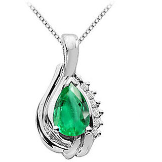 Pendant 14K White Gold With Frosted Emerald Pear Shape & Round Cubic Zirconia