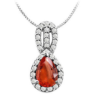 Fashion Pendant With Pear Shape Gf Bangkok Ruby And Cz In 14K White Gold 3 Ct