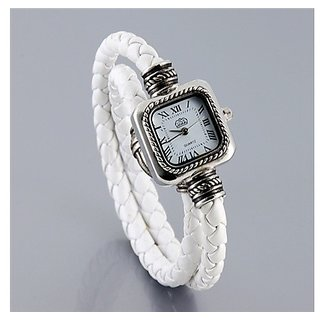 Square Stainless Steel Dial Women's Electronic Bracelet Wrist Watch (White)