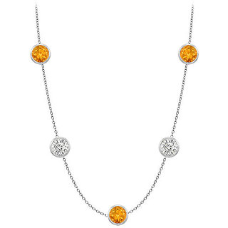 Station Citrine Necklace By The Yard 35 Ct In 14K White Gold
