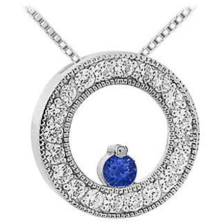 Stylish Sapphire & Diamond Circle Pendant 14K White Gold-1.00 Ct