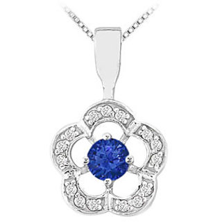 Sapphire & Diamond Flower Pendant 14K White Gold-0.50 Ct