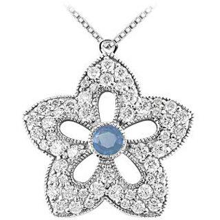 Sapphire & Diamond Flower Pendant 14K White Gold-2.00 Ct