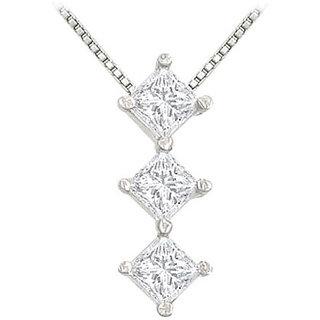 Classic Princess Diamond Pendant 14K White Gold-0.50 Ct Diamonds