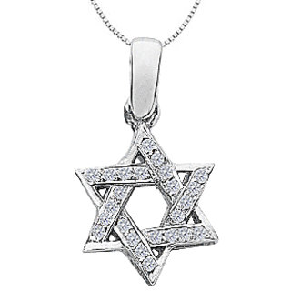 Star Of David Necklace With Accents Diamond In 14K White Gold 0.20 Ct Diamonds