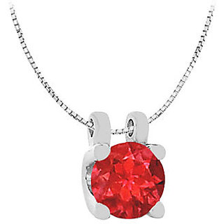 Round Gf Bangkok Ruby Solitaire Pendant In 14K White Gold One Ct