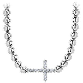 Sideways Cross Diamond Necklace In 14K White Gold 0.25 Ct With Beads