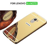 Premium Luxury Metal Bumper Acrylic Mirror Back Cover For Lenovo K4 NOTE - Golden+ 2.5D 0.3mm HD Tempered Glass
