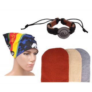 Sushito Fashion Style Three Wollen Caps With Stylish Headwrap  Wrist Band JSMFHCP1312-JSMFHWB0940-JSMFHHR0229