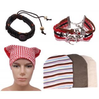 Sushito Stylish Set Of Wollen Caps With Stylish Headwrap  Wrist Band  JSMFHCP1315-JSMFHWB0935-JSMFHHR0227