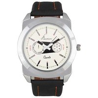 Jack Klein White Dial Black Strap Analog Wrist Watch For Men
